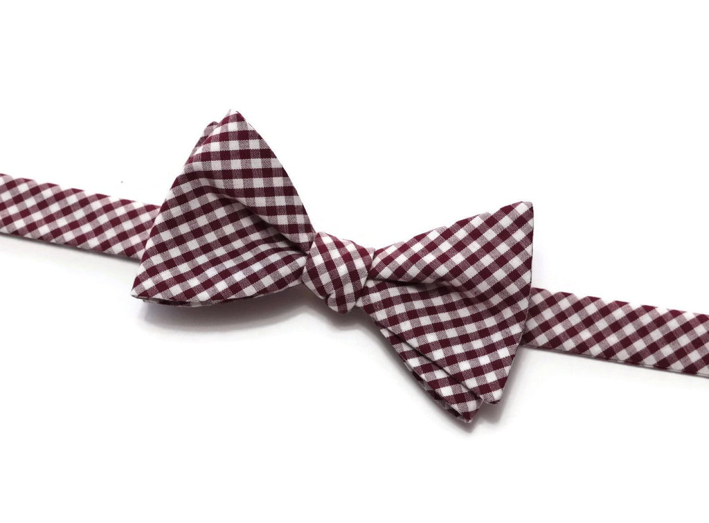 Burgundy Gingham Check Bow Tie