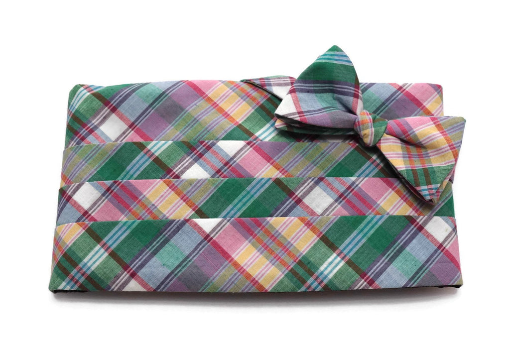 Green & Purple Madras Plaid Cummerbund & Bow Tie