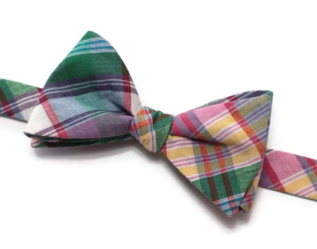Green & Purple Madras Plaid Bow Tie