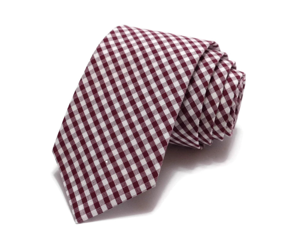 Burgundy Gingham Check Necktie