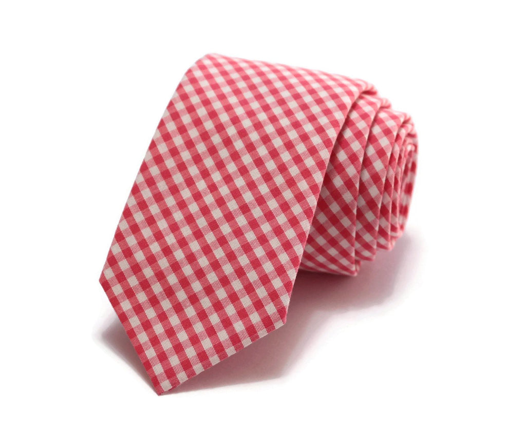 Watermelon Gingham Check Necktie