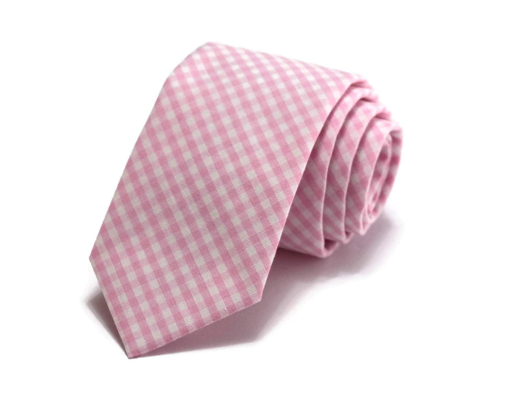 Bubblegum Pink Gingham Check Necktie