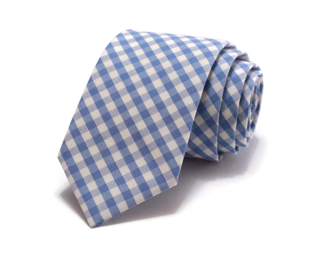 Blue Gingham Check Necktie