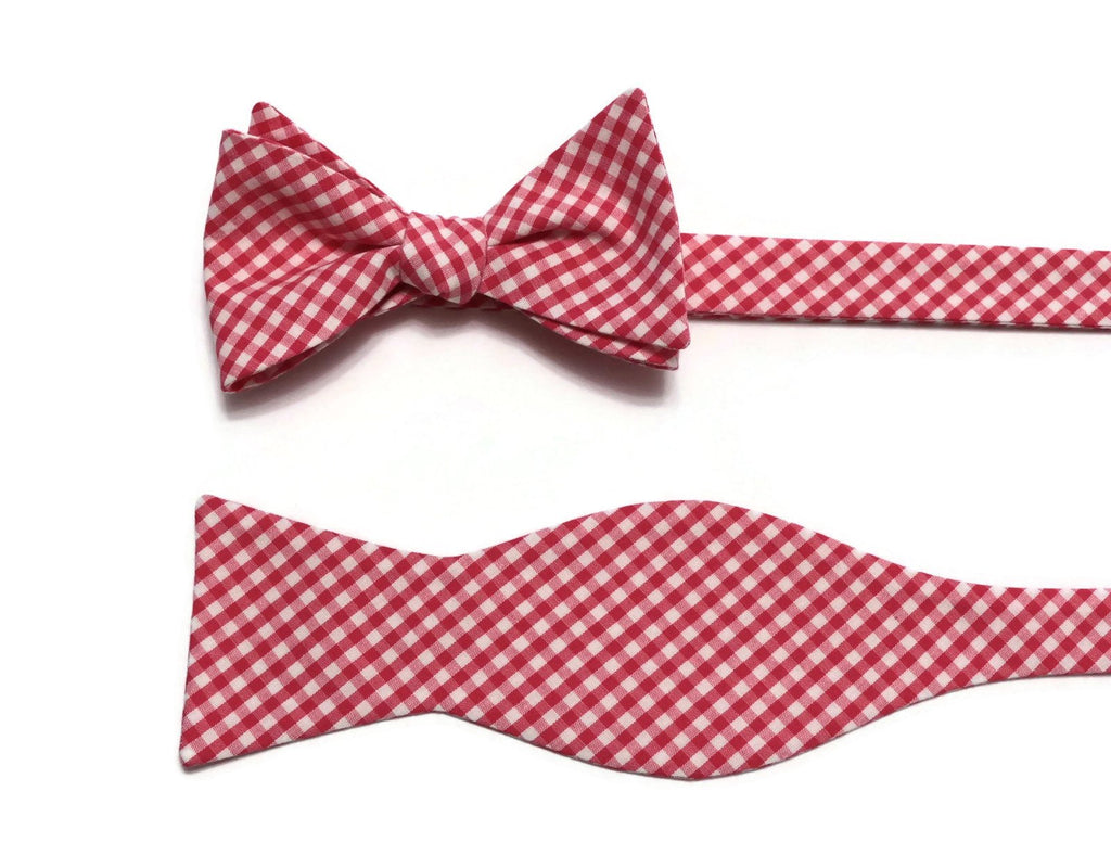 Watermelon Gingham Check Bow Tie