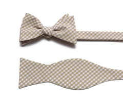 Khaki Gingham Check Bow Tie