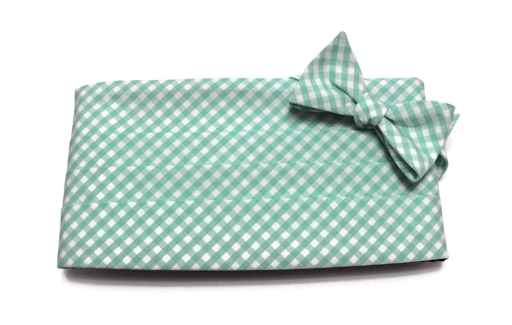 Mint Green Gingham Check Cummerbund & Bow Tie