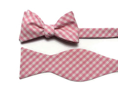 Pink Gingham Check Bow Tie