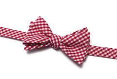 Berry Red Gingham Check Bow Tie