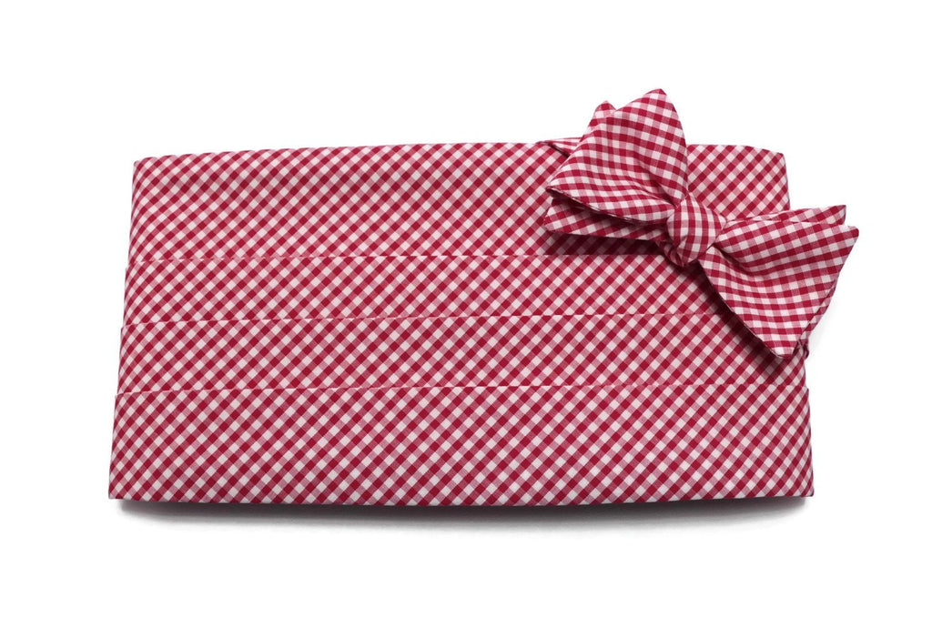 Berry Red Gingham Check Cummerbund & Bow Tie