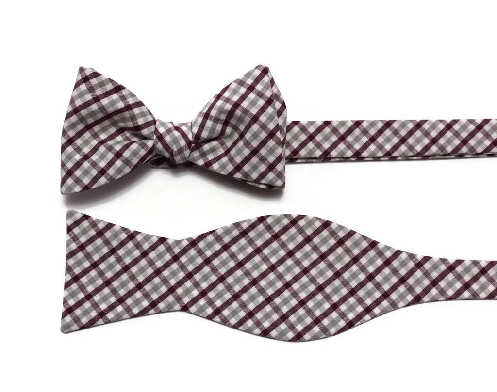 Burgundy & Gray Tattersall Check Cummerbund & Bow Tie
