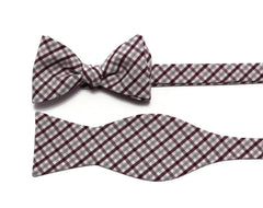 Burgundy & Gray Tattersall Check Bow Tie