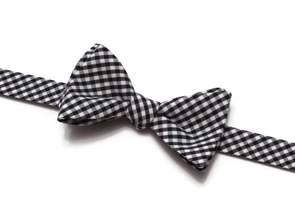 Black Gingham Check Bow Tie