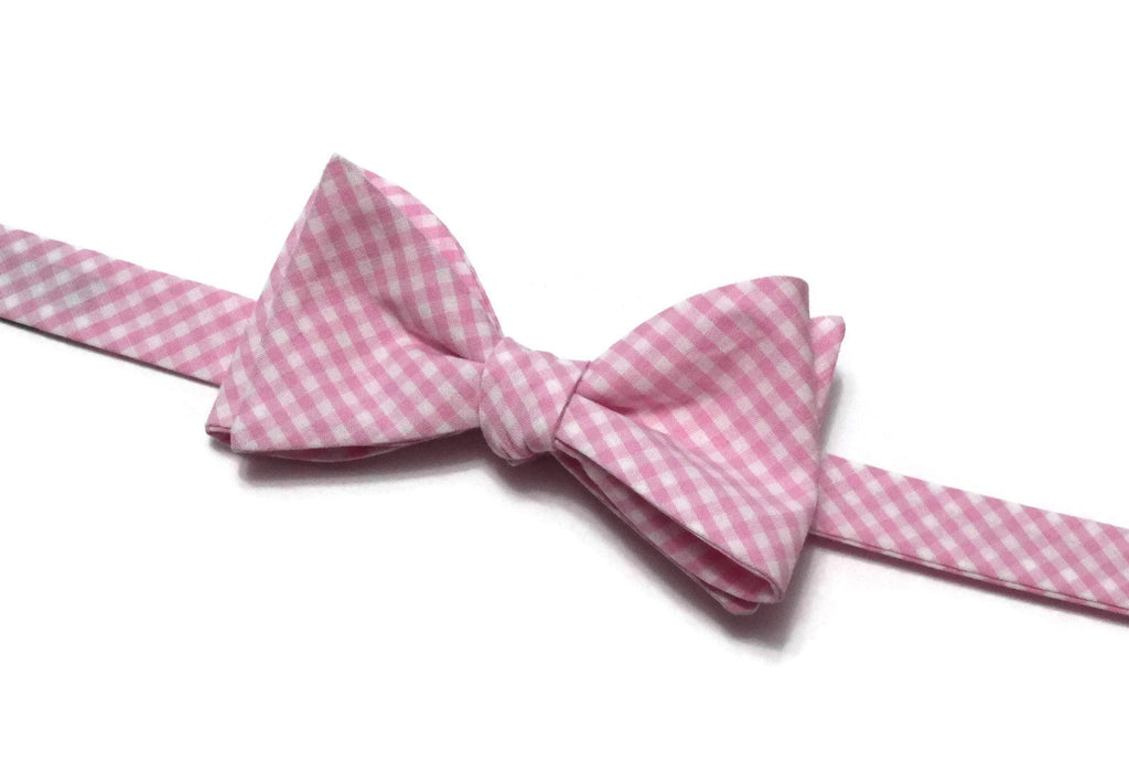 Bubblegum Pink Gingham Check Bow Tie