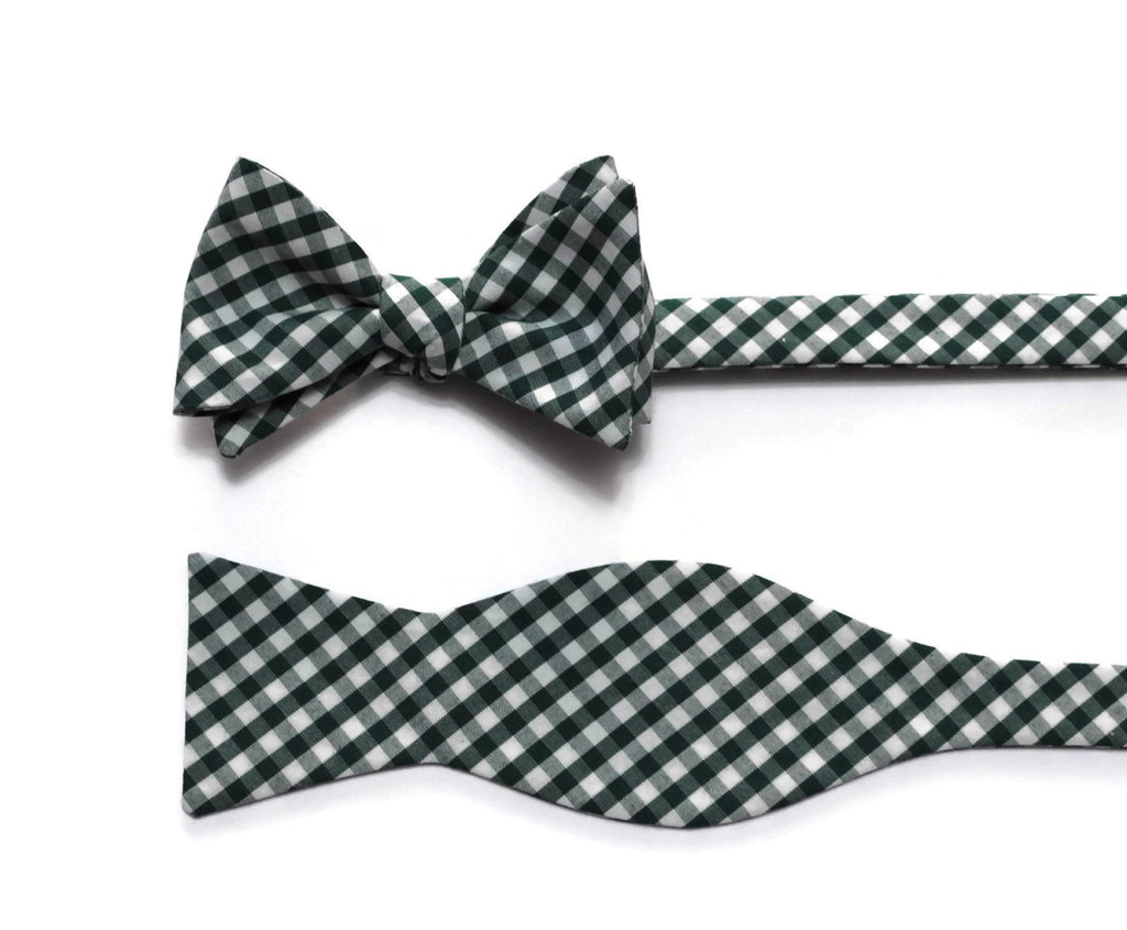 Hunter Green Gingham Check Bow Tie