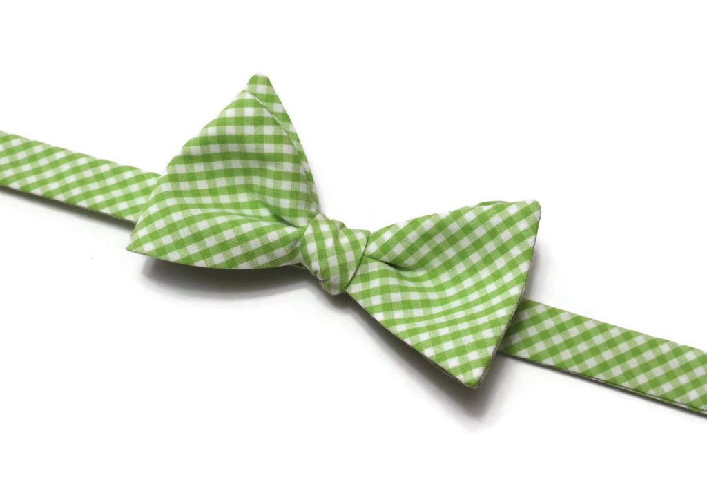 Lime Green Gingham Check Bow Tie