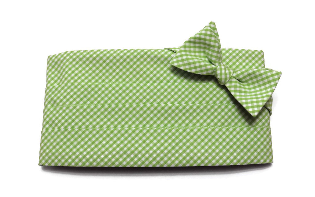 Lime Green Gingham Check Cummerbund & Bow Tie