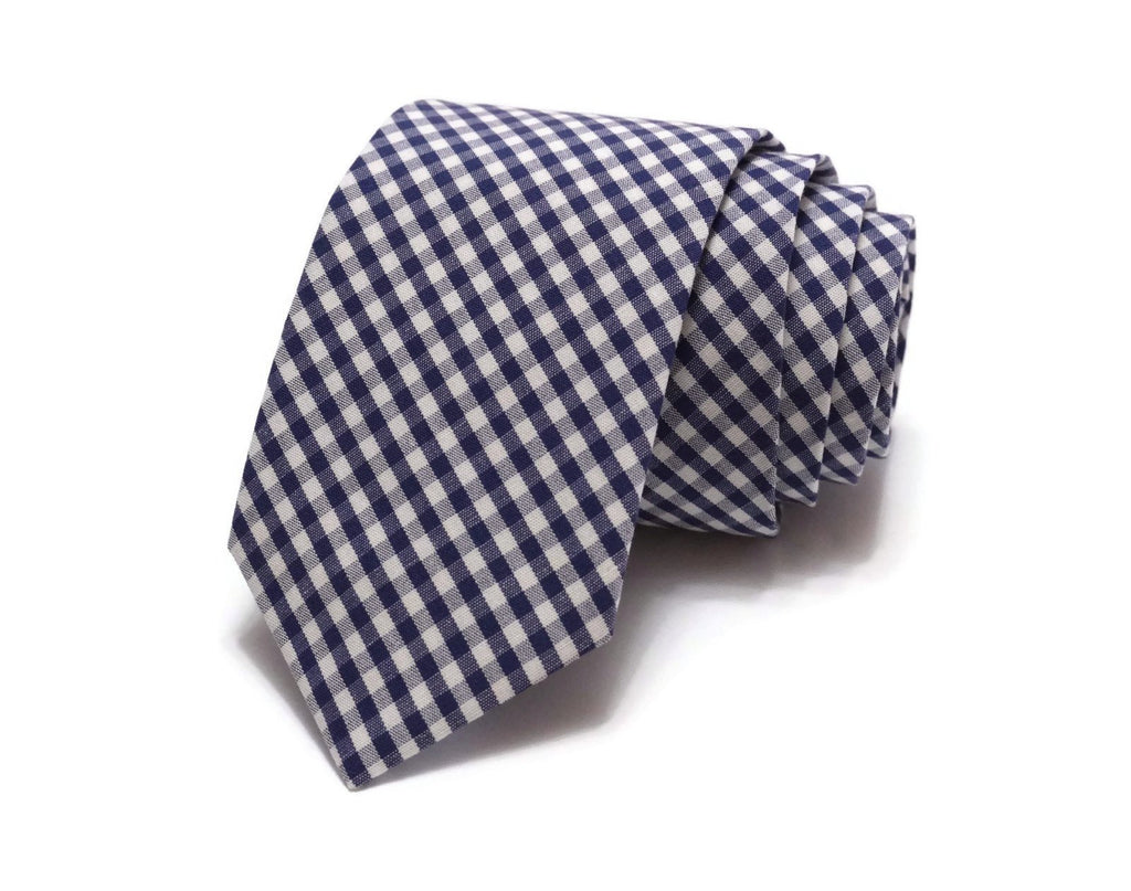 Navy Gingham Check Necktie