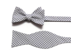 Silver Gingham Check Bow Tie