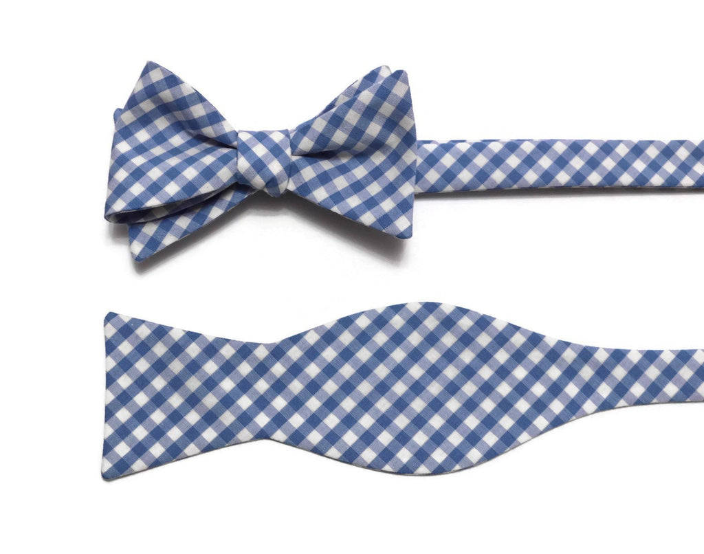 Blue Gingham Check Bow Tie