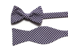 Grape Gingham Check Bow Tie