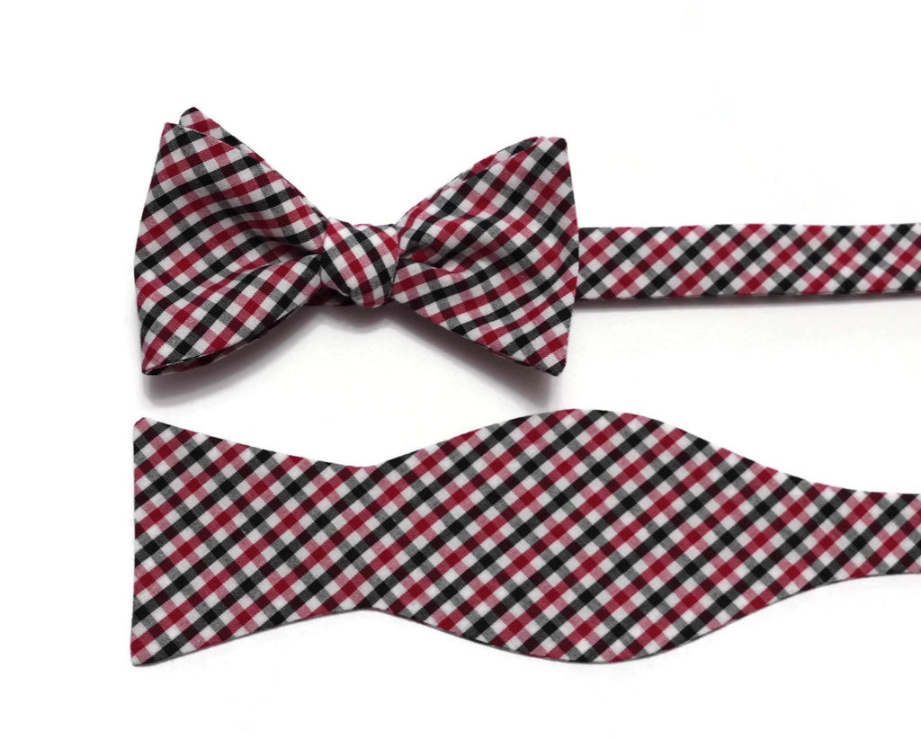 Red & Black Tattersall Check Bow Tie