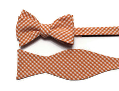 Orange Gingham Check Bow Tie