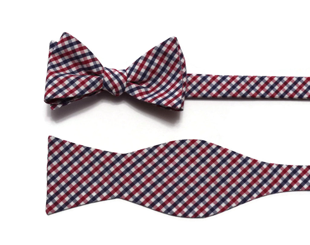 Navy & Red Tattersall Check Bow Tie