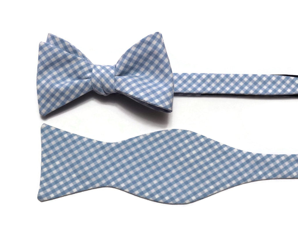 Light Blue Gingham Check Cummerbund & Bow Tie