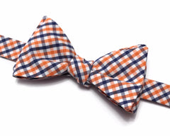 Navy Blue & Orange Tattersall Check Bow Tie