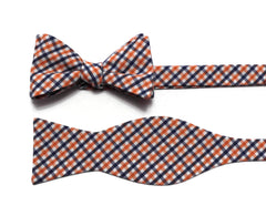 Orange & Navy Tattersall Check Cummerbund & Bow Tie