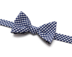 Nautical Blue Gingham Check Bow Tie