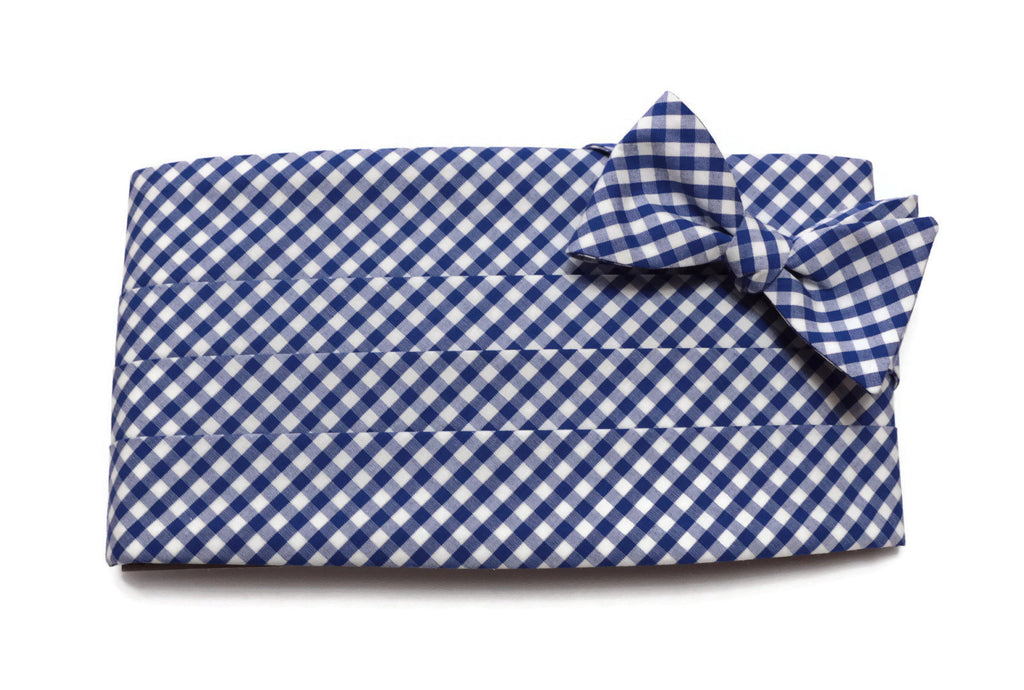 Royal Blue Gingham Check Cummerbund & Bow Tie