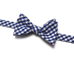 Royal Blue Gingham Check Bow Tie