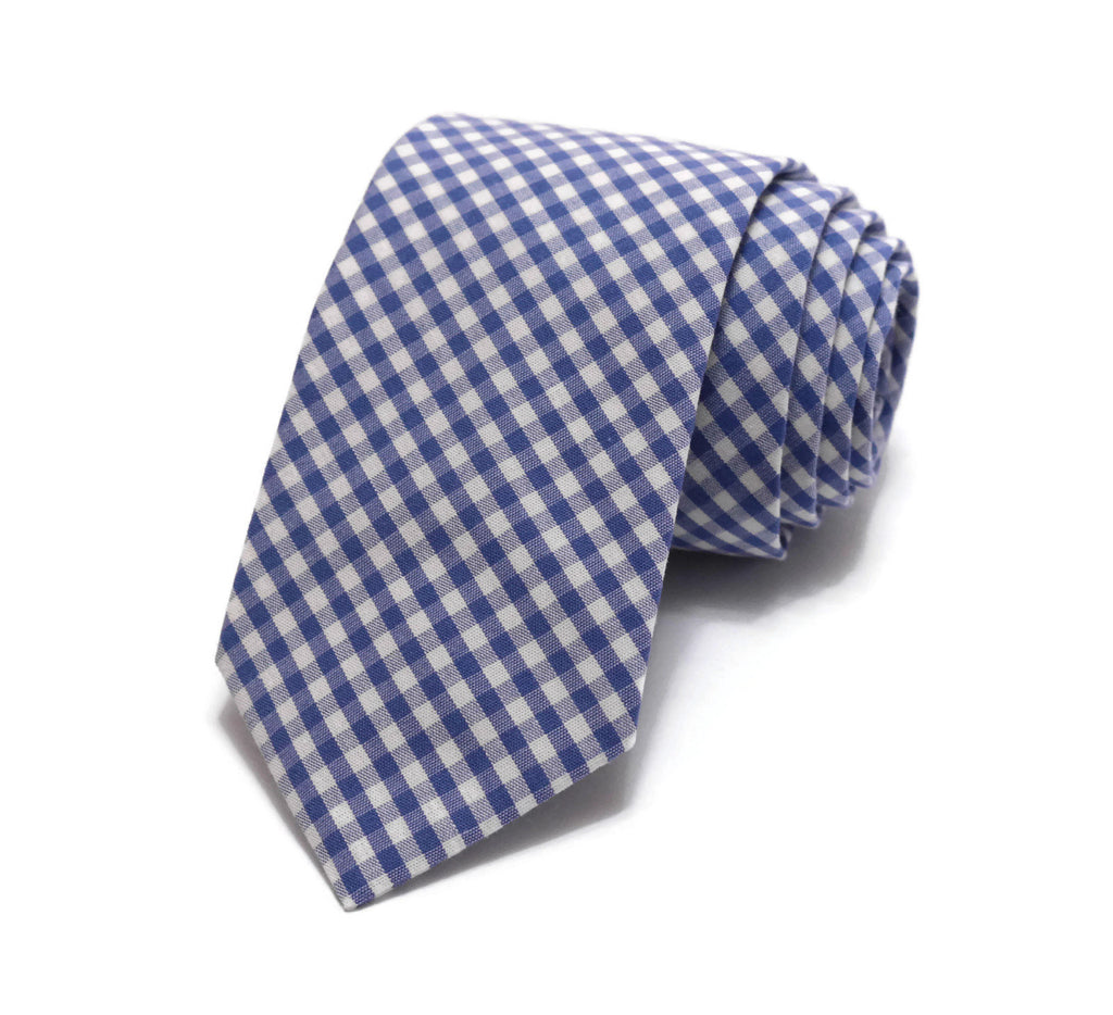 Royal Blue Gingham Check Necktie