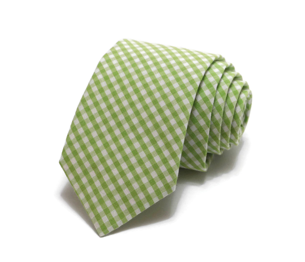 Lime Green Gingham Check Necktie