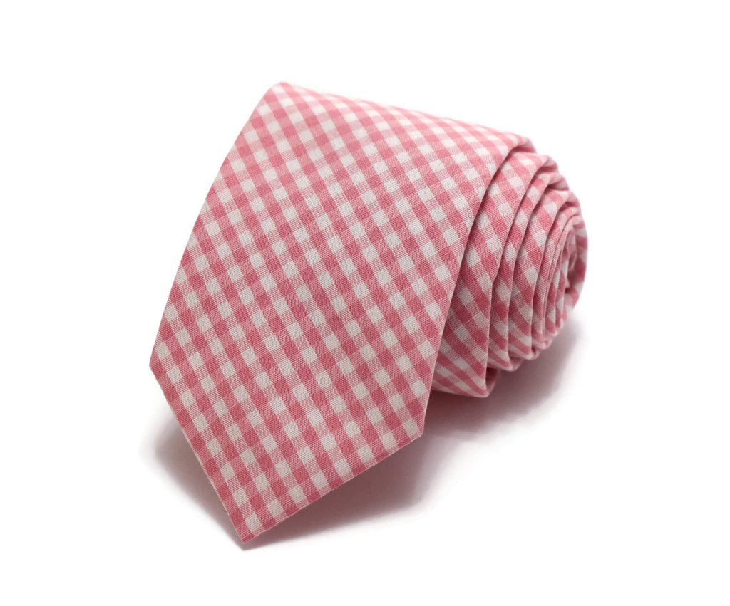Coral Gingham Check Necktie