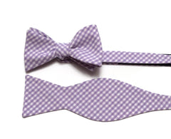 Lilac Gingham Check Bow Tie