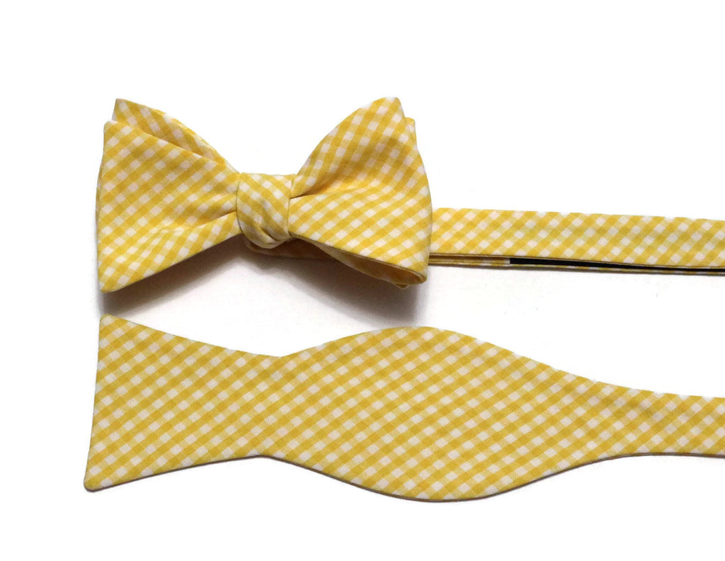 Yellow Gingham Check Bow Tie