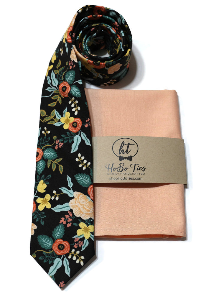Black Birch Floral Necktie w/ Peach Pocket Square