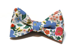 Cream Wild Rose Floral Bow Tie w/ Periwinkle Pocket Square