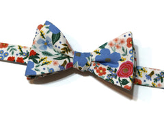 Cream Wild Rose Floral Bow Tie w/ Matching Pocket Square