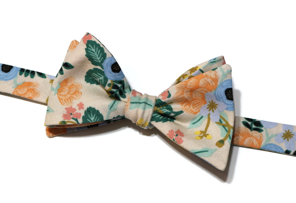 Blush Birch Floral Bow Tie w/ Mint Pocket Square