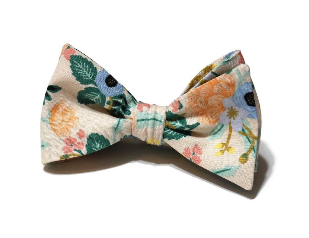 Blush Birch Floral Bow Tie w/ Cornflower Pocket Square