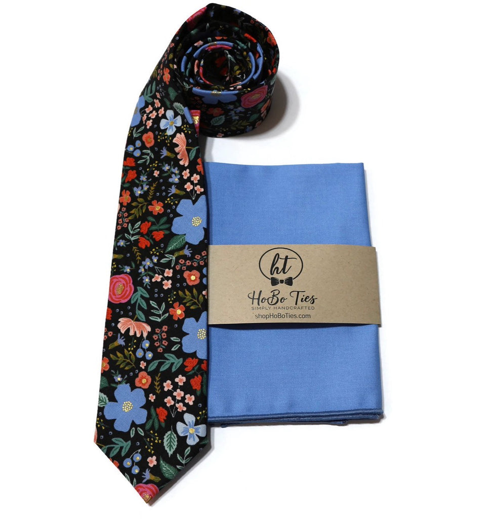 Black Wild Rose Floral Necktie w/ Periwinkle Pocket Square