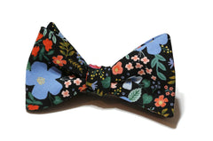 Black Wild Rose Floral Bow Tie w/ Periwinkle Pocket Square