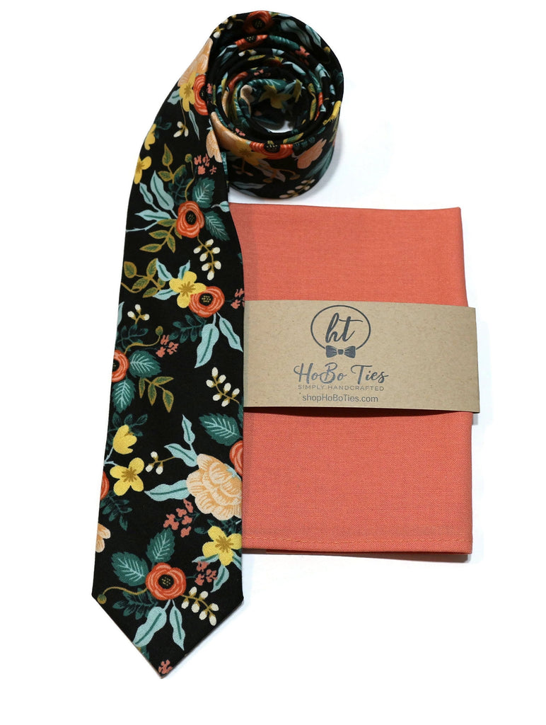 Black Birch Floral Necktie w/ Coral Pocket Square