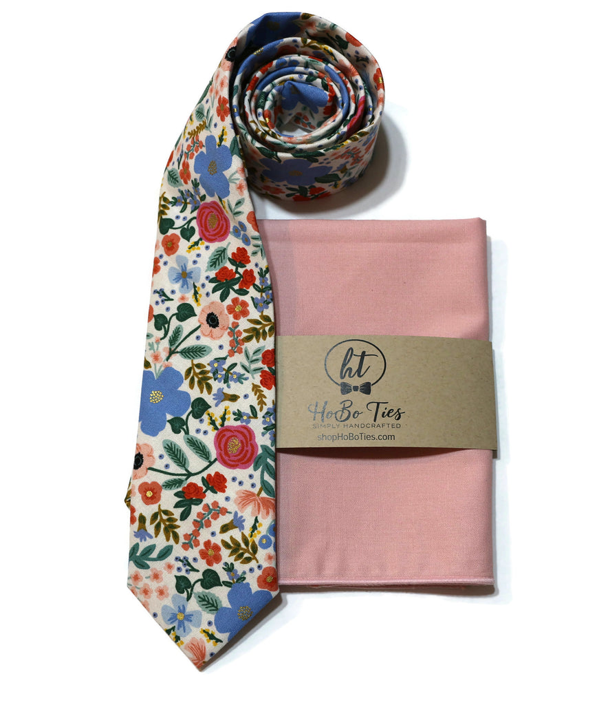 Cream Wild Rose Floral Necktie w/ Belini Pocket Square