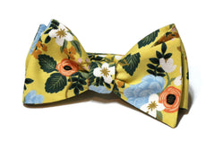 Yellow Birch Floral Bow Tie w/ Hunter Pocket Square