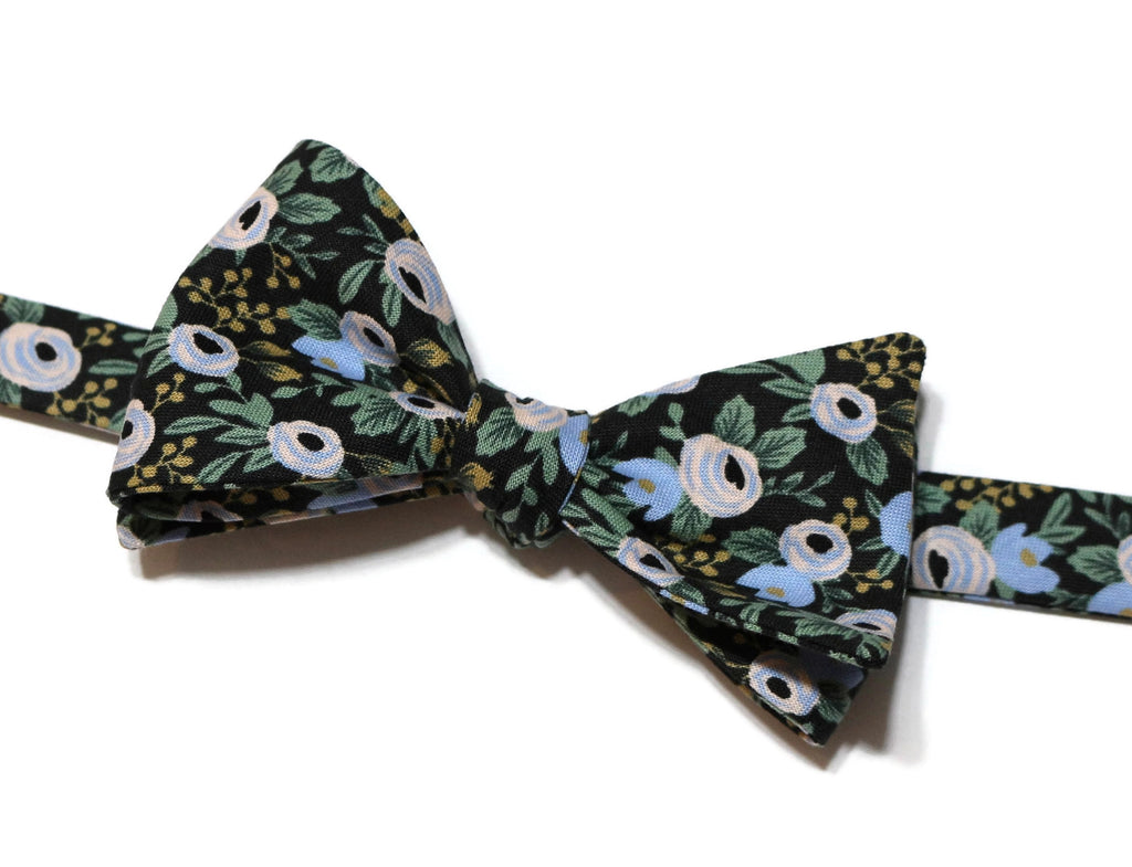 Black Rosa Floral Bow Tie w/ Matching Pocket Square