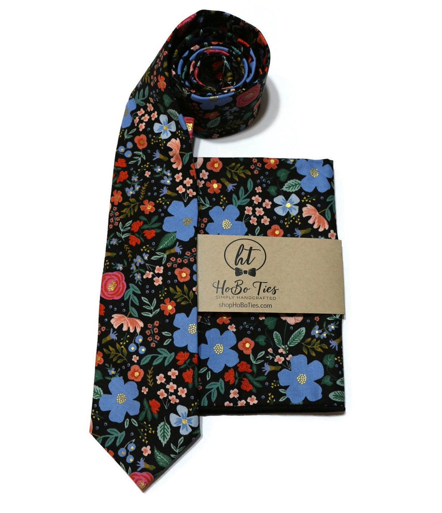 Black Wild Rose Floral Necktie w/ Matching Pocket Square